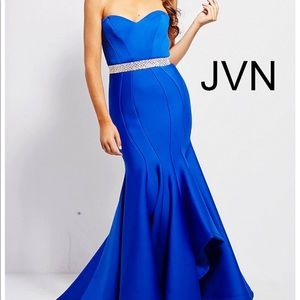 Jovani Sweetheart Strapless Blue Dress